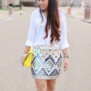 Express Sequin Aztec Festival Mini Skirt